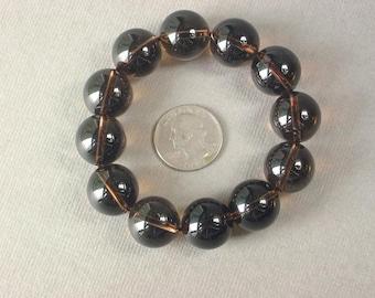 Bracelet Smokey Quartz 18mm Round Beads Stretch BSSQ0249
