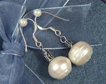earrings White Pearls 11mm Rondell 925 EHPW0295
