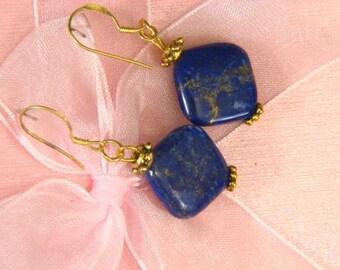 Earrings Lapis Lazuli 16mm Rhombus 14K ESLL1817