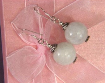 Earrings White Aquamarine 16mm Round Beads 925 ESAQ1852