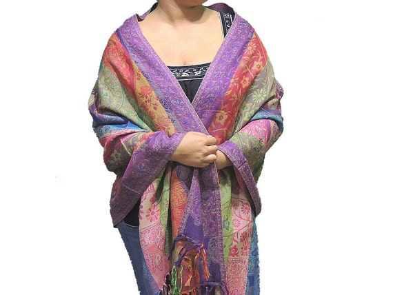 Multicolor Scarf Special Occasion Paisley Wool Ladies