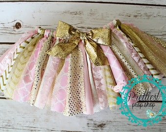 Pink and Gold Fabric Tutu, First Birthday Tutu Outfit, Cake Smash Outfit Girl, 1st Birthday Skirt, Scrappy Tutu, Pink Tutu Skirt, Pink Gold