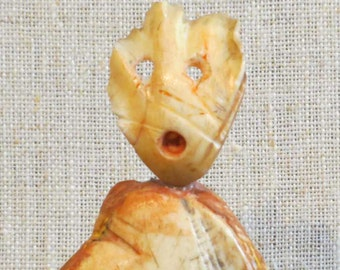 """MODERN ART SCULPTURE - Fossilized Bone Sculpture by Mort Golub, 5.5"""" tall (without the base) - Free Shipping"""
