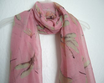 Beautiful Pink Dragon Fly Scarf, Pink Scarf With Dragon Fly, For Her, Spring Summer Scarf