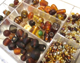 Crystal & Amber Glass Bead Destash, Mixed Bead Lot, Natural Tone Beadworking, Seed Beads, Bead Soup, Jewelry Making Supply, 4 ounces