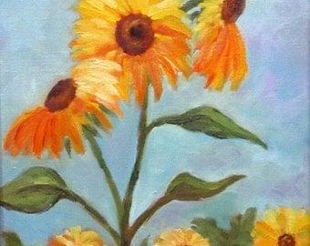 Sunflower IV, garden flowers, original art, floral, 9 x 12, oil painting