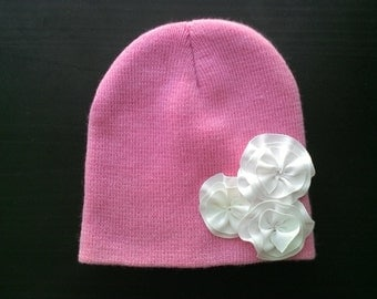 Pink Beanie with White Ribbon Flowers