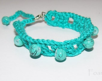 Turquoise color bracelet Crochet turquoise bracelet handmade bracelet friendship bracelet gift ideas for her women bracelet (CB-4)