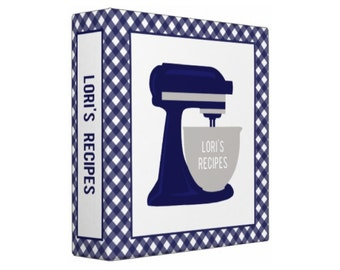 NAVY BLUE Stand Mixer Personalized Recipe Organizer Binder - Perfect Bridal Shower Gift!