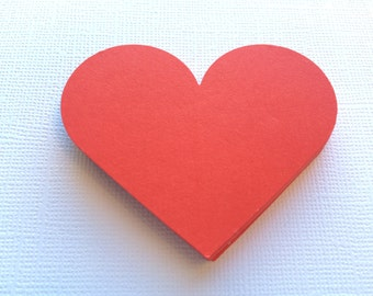 """25 Red Heart Paper Die Cuts, Punches - 2.5"""""""