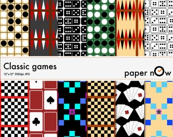 Classic Games Digital Papers, Board Games Digital Papers - Get fully nostalgic with this classic games digital paper set!