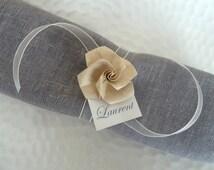 10 marques place rond de serviette pour mariage en origami - rose ...