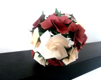 Wedding Bouquet - red and ivory roses - origami paper flowers