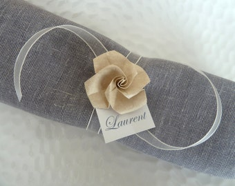 10 origami napkin rings / place card holder / guest card for wedding - beige paper rose - ivory organza  ribon  - table decoration