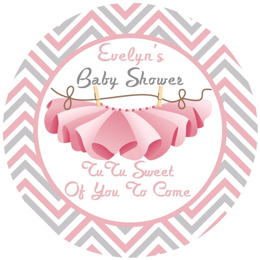 baby shower tutu personalized favor sticker baby girl baby