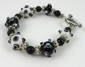 Black and White studded bracelet, glass bumpy bead bracelet