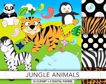 Jungle animals clipart,safari clipart,jungle animals,tiger clipart,zoo clipart,penguin clipart,zebra clipart,panda clipart,hippo ZOO2