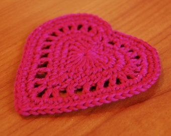 Crochet heart coaster pattern for Valentine's day