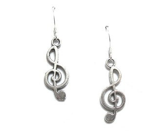 Treble Clef Music Note Earrings