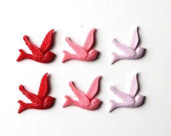 6 Swallow bird cabochons, red pink and lilac resin flat back cabochons/ Jewellery supplies