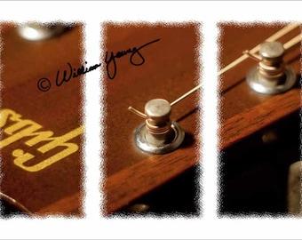 Music, Gibson (5380), Fine Art Photography, Gibson Guitar, Music, Musical Instrument, Guitar Photo, Triptych, Dorm Room Decor, Gibson Photo