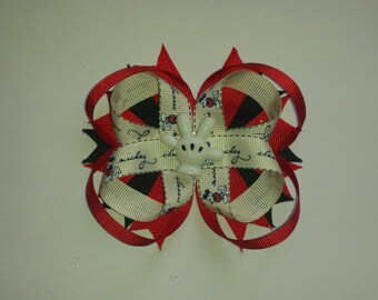 Mickey mouse hand loopy stacked boutique bow