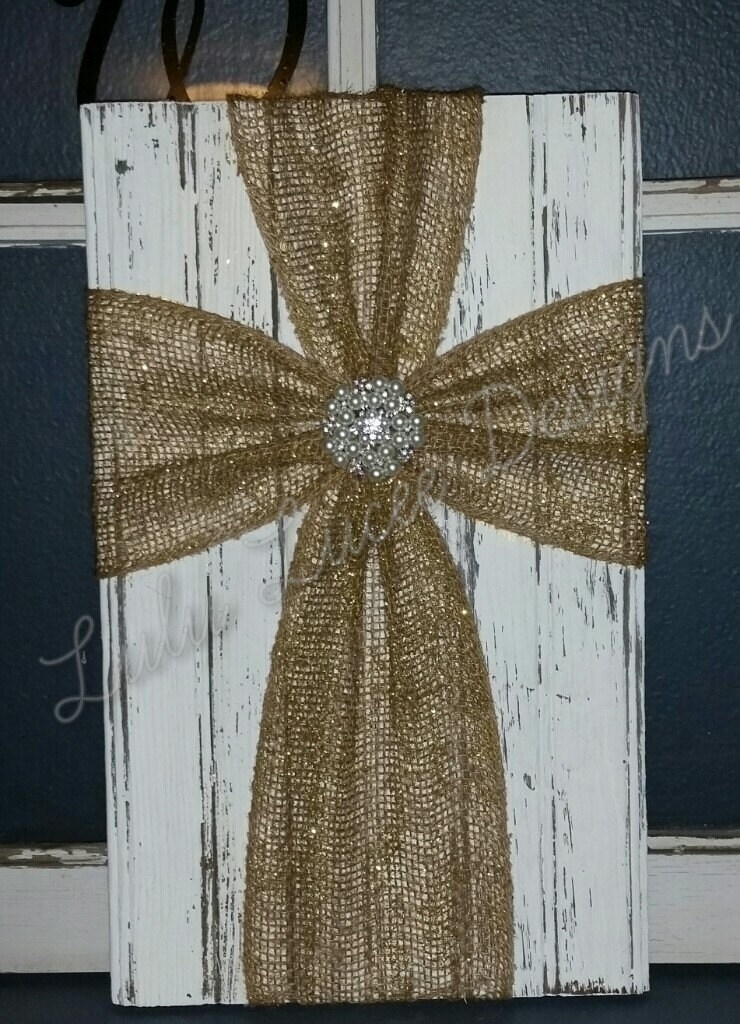 Burlap Cross Wall Decor