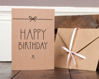 Happy Birthday Card Craft Recycled homemade text typography modern