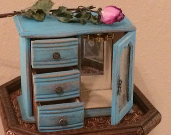Shabby Chic Turquoise Distressed Jewelry Box, Wooden Painted Jewelry Box with three Drawers, brass pulls Jewelry Box