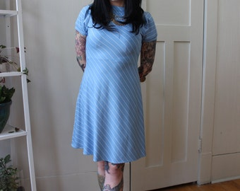 70's Blue and White Stripped Day Dress