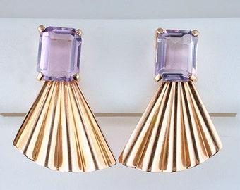 Vintage Retro Lilac Gemstone 14K Rose Gold Earrings