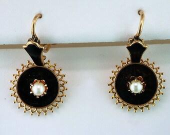 Vintage Antique Victorian Pearl 14K Gold Black Enamel Dangle Earrings