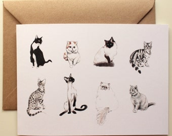 Cat Card- Gift Card - Cat Breeds-Birthday Card- Cat Lover