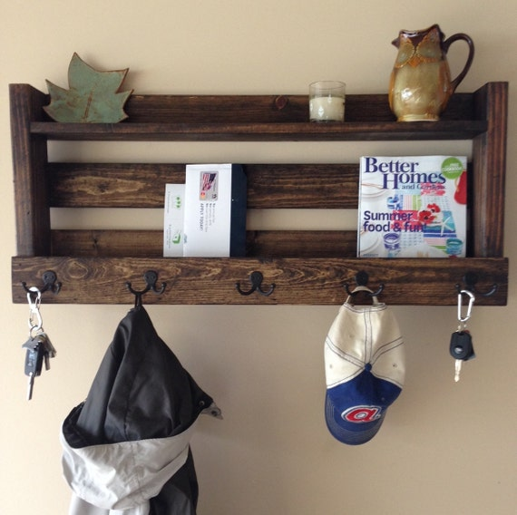 Rustic Foyer Xl : Rustic entryway organizer mail coat rack key