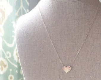 SWEETHEART   Sterling Silver Hammered Heart Necklace   Dainty Silver Heart Necklace   Valentine's Day Gift   Valentine Gift  Sterling Silver