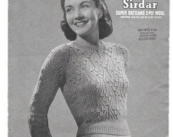 1940s Vintage Knitting Pattern - Womens Sweater/Jumper 34 inch chest- Instant Download