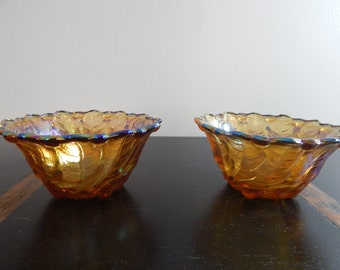 Pair of Vintage Carnival Glass Bowls