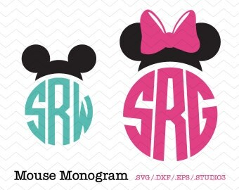 Mouse Ears Personalized Circle Monogram (SVG, DXF, EPS, Studio3) Minnie Mouse Cut File for Silhouette Studio, Cricut, Vinyl Cutters