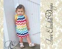 Rainbow Chevron Pillowcase Dress/Sundress - Sizes 6 month - 8 Years - Medium Print Chevron