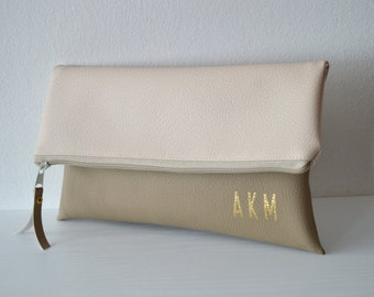 Monogrammed clutch purse, Foldover clutch, Bridesmaids gift, Wedding accessories