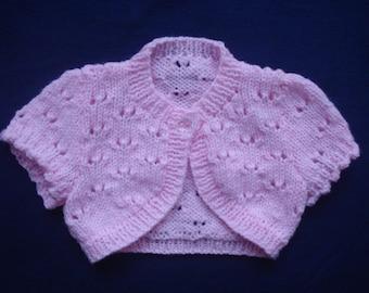 Baby Pink Bolero / Cardigan size 3 to 6 Months