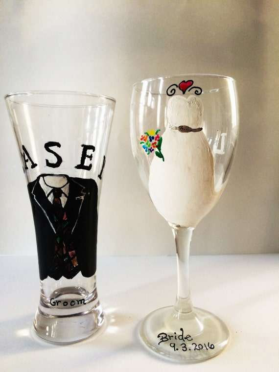 custom wedding glasses painted wine glasses personalized wedding