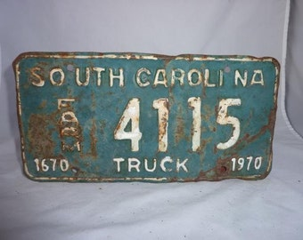 Vintage 1970 South Carolina Farm Truck License Plate
