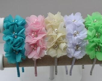 White flower girl headband white wedding headband metal girls headband toddler headband chiffon headband white girls headbands