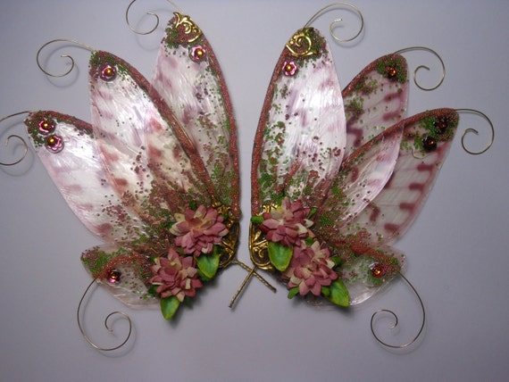 OOAK Peach Flower Garden Faberge Fae Fairy Wings to Embellish