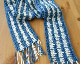 Country Blue/Ecru Vertial Stripe Scarf with Fringe