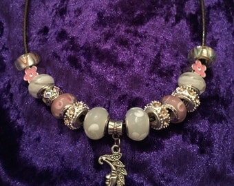 SALE Moon silver charm leather necklace white and pink european beads