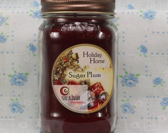 Sugar Plum Shekinah Candles 15 oz  Mason Jar Candle