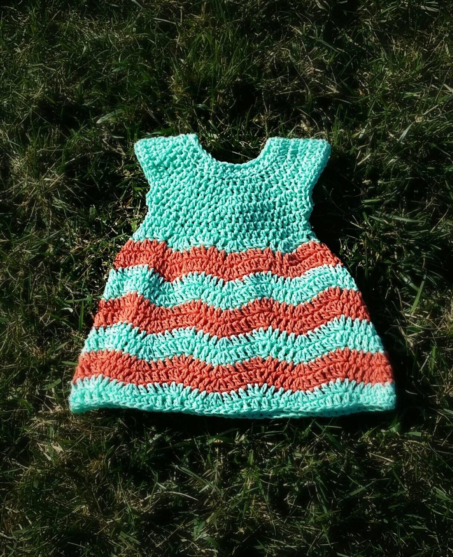 Crochet Chevron Baby Dress Pattern : Crochet Chevron Baby Dress by BenknitBows on Etsy
