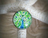 Peacock ring.  Watercolor Hand-painted miniature painting, Wearable art ring- peacock with filigreed bronze adjustable band